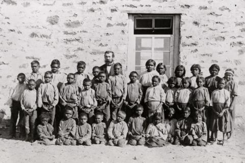 Aranda Aboriginal pupils with Pastor C. Strehlow