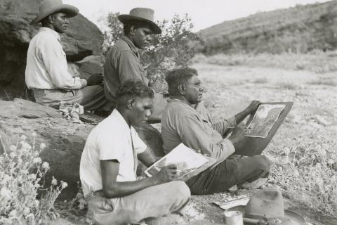 Albert Namtjira and sons working on their paintings April 1952