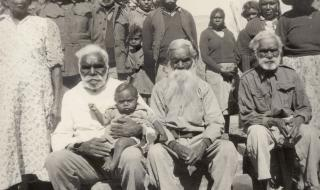 Sofia with husband Moses sitting beside Albert Namatjira's father, Jonathon at Jay Creek.