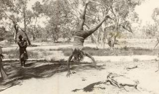 Child doing cartwheels