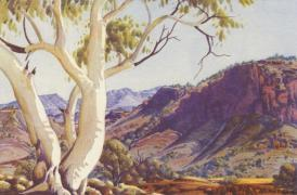 Albert Namatjira watercolour- Ghost Gums